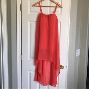 Love Tree Coral high low dress